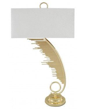 Gold Sculptured Sweeping Table Lamp With 19 Inch White Crocodile Velvet Rectangle Shade-Bedroom-Furniture Walk UK