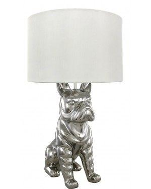 Silver French Bulldog Table Lamp-Bedroom-Furniture Walk UK