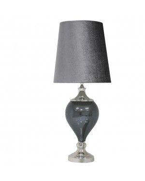 Medium Dark Grey Pearl Regency Statement Lamp With Grey Shade-Accents & Lighting-Furniture Walk UK