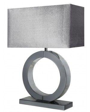 Medium Smoked Mirror Circle Table Lamp With Grey Shade-Bedroom-Furniture Walk UK