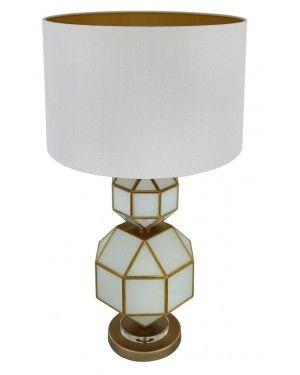 White And Gold Glass Table Lamp-Bedroom-Furniture Walk UK