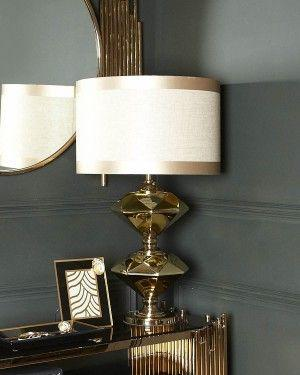 Gold Two Diamond Table Lamp-Bedroom-Furniture Walk UK