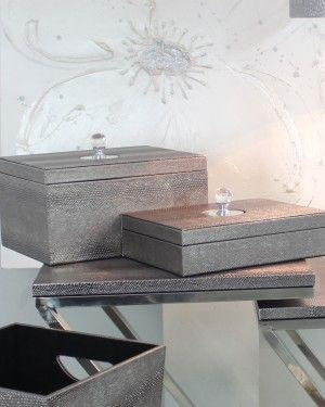 Pewter Faux Snakeskin Set Of 2 Storage Boxes-Accents & Lighting-Furniture Walk UK