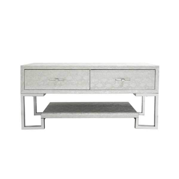 Silver Faux Snakeskin Entertainment Unit-Living Room-Furniture Walk UK