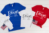 3001 and 3001T Bella Canvas Mockup Shirts, 4400 Rabbit Skins Bodysuit  |  TRUE ROYAL, RED, & WHITE