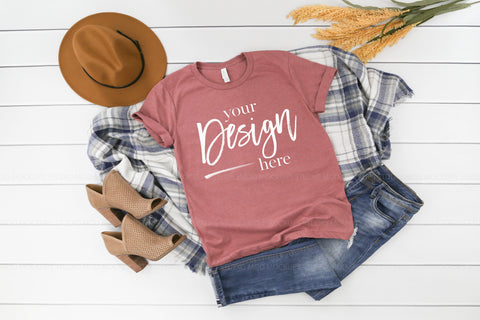 Image of 3413 Bella Canvas Mockup Tshirt | HEATHER MAUVE TRIBLEND