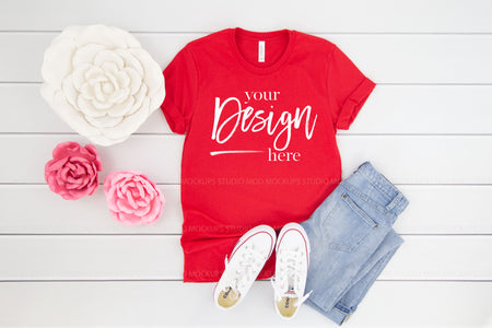 3001 Bella Canvas Mockup Tshirt | RED