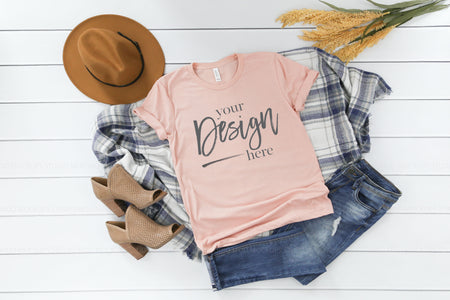 3413 Bella Canvas Mockup Tshirt  |  PEACH TRIBLEND