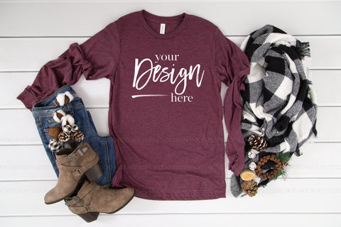 Image of 3501 Bella Canvas Mockup Long Sleeve Tshirt |  MAROON TRIBLEND