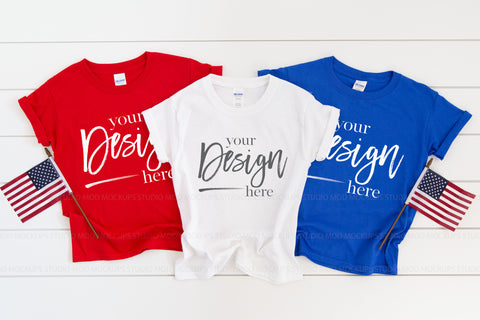 Image of 5000B Gildan Mockup Kids Tshirt  |  RED, WHITE & ROYAL BLUE