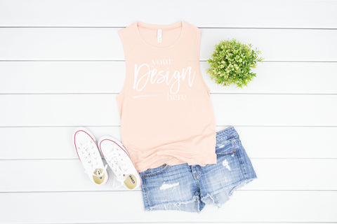 Image of 8803 Bella Canvas Tank Mockup  |  PEACH