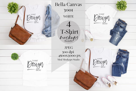 Image of BUNDLE: 3001 Bella Canvas Mockup Tshirt | WHITE