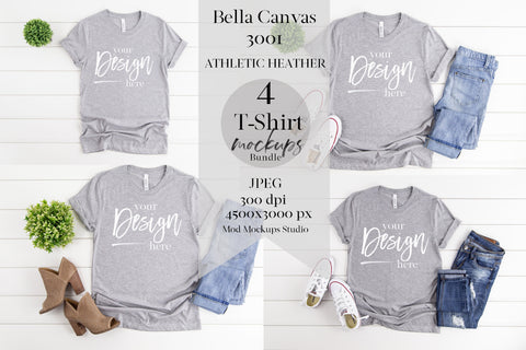 Image of BUNDLE: 3001 Bella Canvas Mockup Tshirt | ATHLETIC HEATHER