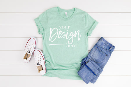 3001CVC Bella Canvas Mockup Tshirt  |  HEATHER PRISM MINT