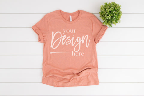 Image of 3001CVC Bella Canvas Mockup Tshirt  |  HEATHER PRISM SUNSET