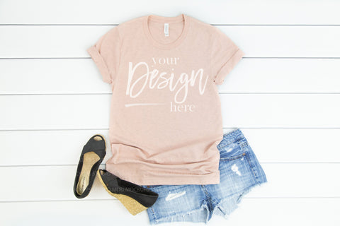 Image of 3001CVC Bella Canvas Mockup Tshirt  |  HEATHER PRISM PEACH