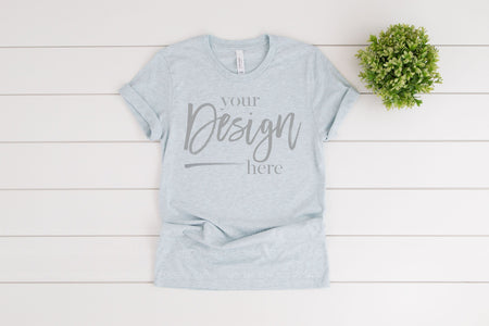 3001CVC Bella Canvas Mockup Tshirt  |  HEATHER PRISM ICE BLUE