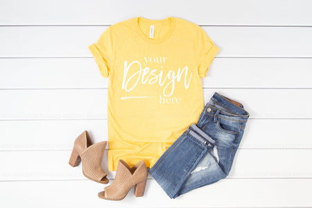 3001 Bella Canvas Mockup Tshirt | HEATHER YELLOW