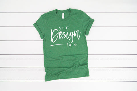 3001 Bella Canvas Mockup T-shirt | HEATHER GRASS GREEN