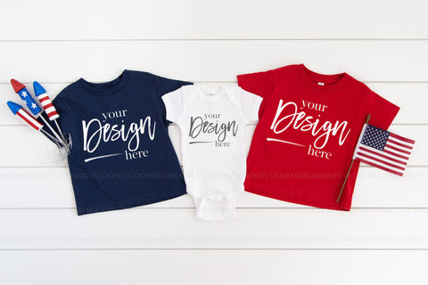 Rabbit Skins Mockup Toddler Jersey Tee and Bodysuit  |  NAVY, RED, WHITE