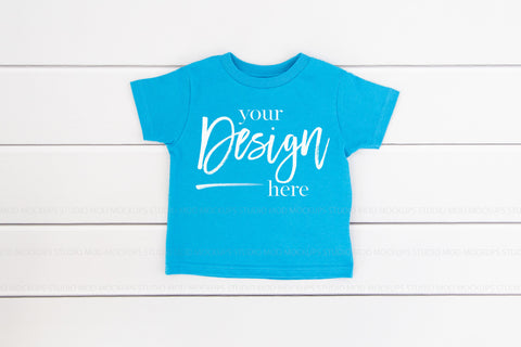 Image of Rabbit Skins Mockup Toddler Jersey Tee  |  TURQUOISE