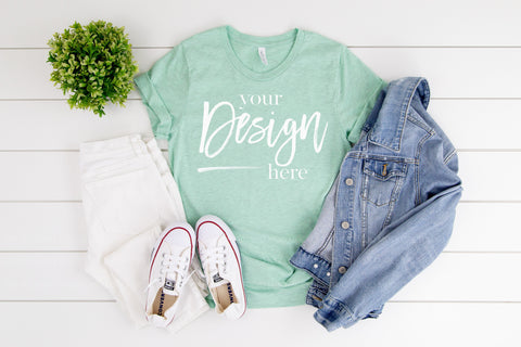Image of 3001CVC Bella Canvas Mockup Tshirt  |  HEATHER PRISM MINT