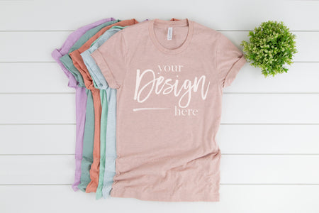 3001CVC Bella Canvas Mockup Stacked Tshirt  |  HEATHER PRISM STACK