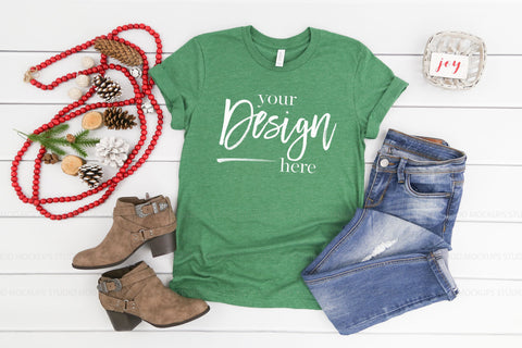 Image of 3001 Bella Canvas Mockup T-shirt | HEATHER GRASS GREEN