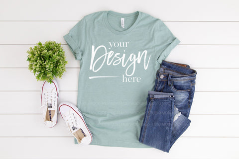 3001CVC Bella Canvas Mockup Tshirt  |  HEATHER PRISM DUSTY BLUE