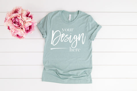 Image of 3001CVC Bella Canvas Mockup Tshirt  |  HEATHER PRISM DUSTY BLUE