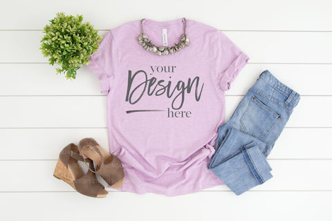 Image of 3001CVC Bella Canvas Mockup Tshirt  |  HEATHER PRISM LILAC