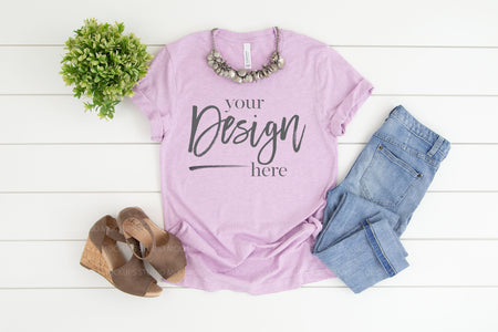 3001CVC Bella Canvas Mockup Tshirt  |  HEATHER PRISM LILAC