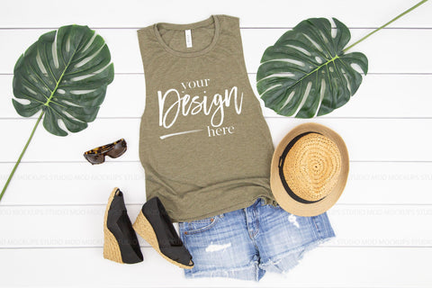 8803 Bella Canvas Tank Mockup  |  HEATHER OLIVE