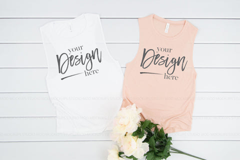 Image of 8803 Bella Canvas Tank Mockup  |  WHITE and PEACH