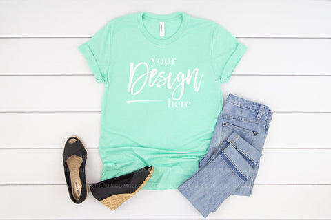 Image of 3413 Bella Canvas Mockup Tshirt | MINT TRIBLEND