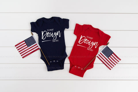 Image of Rabbit Skins Mockup 4400 Bodysuit  |  NAVY AND RED