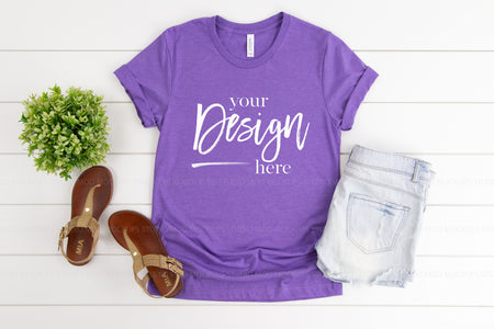 3001 Bella Canvas Mockup Tshirt | HEATHER TEAM PURPLE