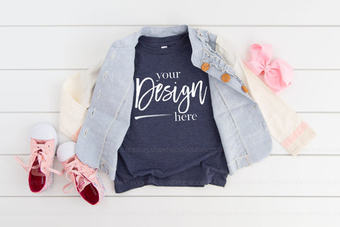 Image of 3001T Bella Canvas Mockup Kids Tshirt  |  HEATHER NAVY