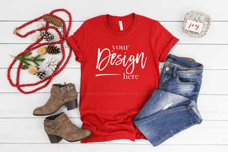 3001 Bella Canvas Mockup T-shirt | CANVAS RED