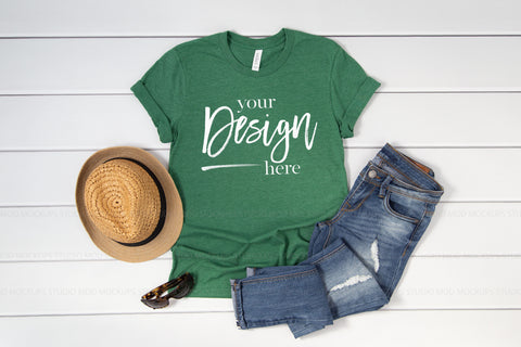3001 Bella Canvas Mockup Tshirt | HEATHER GRASS GREEN