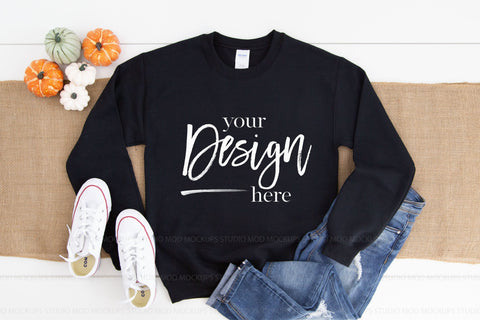 Image of Gildan 18000 Sweatshirt Mockup | Black