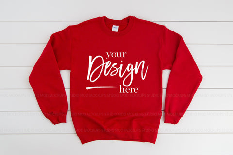 Gildan 18000 Sweatshirt Mockup  |  RED