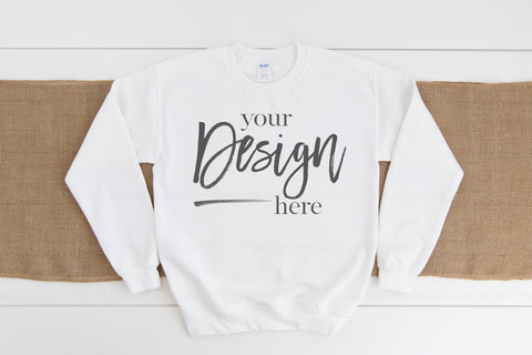 Image of Gildan 18000 Sweatshirt Mockup  |  WHITE