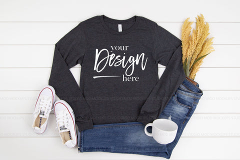 3501 Bella Canvas Mockup Long Sleeve Tshirt |  DARK GREY HEATHER