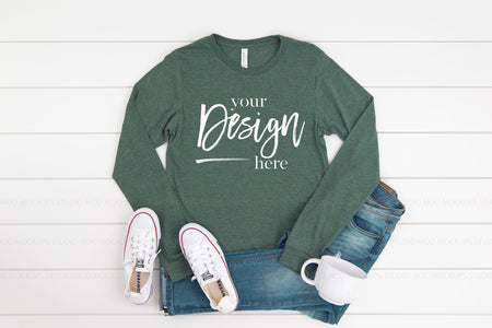 3501 Bella Canvas Mockup Long Sleeve Tshirt |  HEATHER FOREST