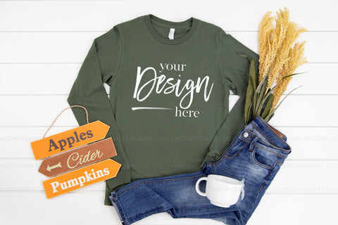 3501 Bella Canvas Mockup Long Sleeve Tshirt |  MILITARY GREEN