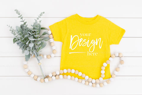Image of Rabbit Skins Mockup Toddler Jersey Tee  |  YELLOW