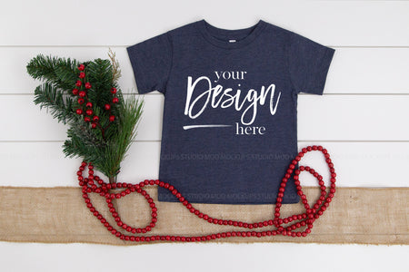 3001T Bella Canvas Mockup Kids Tshirt  |  HEATHER NAVY