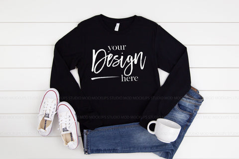 Image of 3501 Bella Canvas Mockup Long Sleeve Tshirt |  BLACK