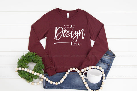 Image of 3501 Bella Canvas Mockup Long Sleeve Tshirt |  CARDINAL